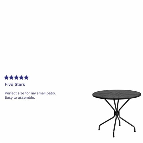 Flash Furniture 35.25  Round Steel Flower Print Patio Dining Table in Black Perspective: left