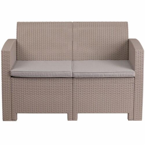 Flash Furniture Wicker Patio Loveseat in Light Gray Perspective: left