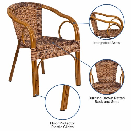 Flash Furniture Rattan Chair Aluminum Frame Dark Red Bamboo Perspective: left
