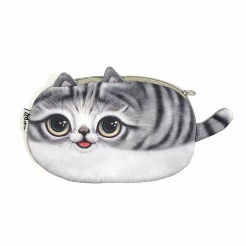 Wrapables Cat Face Cosmetic Pouch Pencil Case (Set of 2), Playful & Happy Perspective: left
