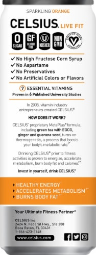 Celsius Sparkling Orange Dietary Supplement Energy Drink Perspective: left