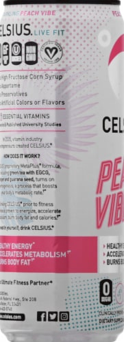 Celsius Limited Edition Sparkling Peach Vibe Dietary Supplement Sports Drink Perspective: left