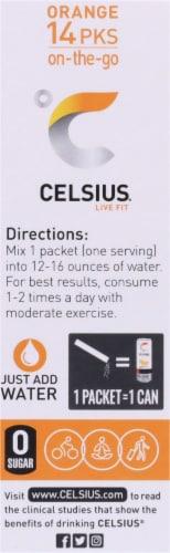 Celsius Live Fit Orange Pre-Workout Formula Packets Perspective: left