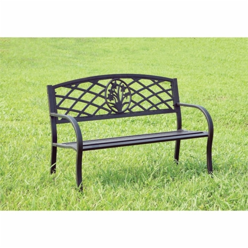 Palmer Slatted Patio Bench in Black - Furniture of America Perspective: left