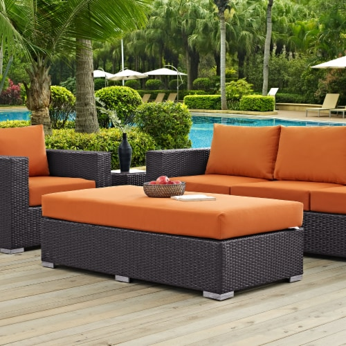 Convene Outdoor Patio Fabric Rectangle Ottoman - Espresso Orange Perspective: left