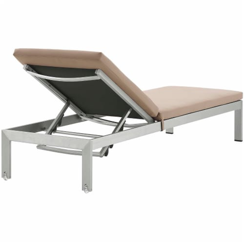 Shore Chaise with Cushions Outdoor Patio Aluminum Set of 2 - Silver Mocha Perspective: left