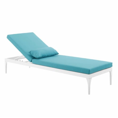 Perspective Cushion Outdoor Patio Chaise Lounge Chair - White Turquoise Perspective: left