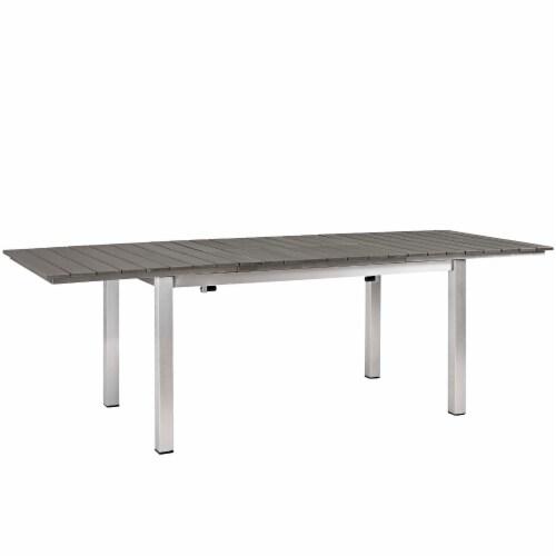 Shore 5 Piece Outdoor Patio Aluminum Outdoor Dining Set - Silver Black Perspective: left