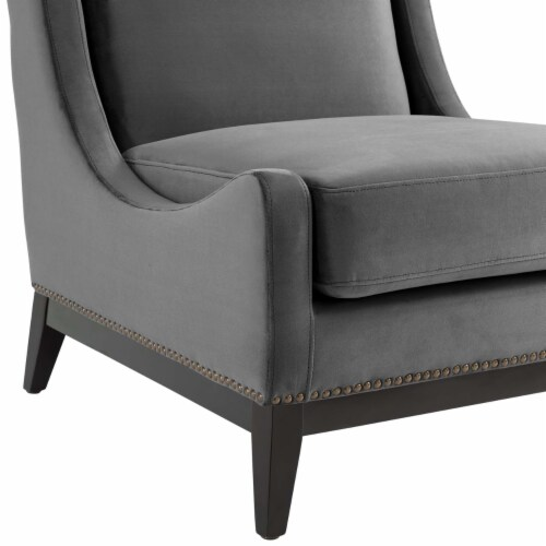 Confident Accent Upholstered Performance Velvet Lounge Chair Perspective: left