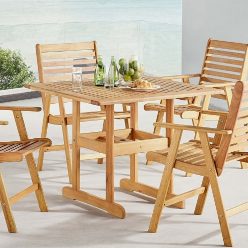"""Hatteras 36"""" Square Outdoor Patio Eucalyptus Wood Dining Table Natural Perspective: left"""