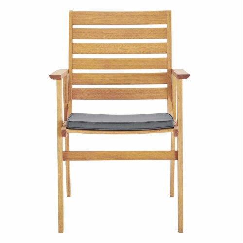 Syracuse Outdoor Patio Eucalyptus Wood Dining Chair Set of 2 Natural Gray Perspective: left