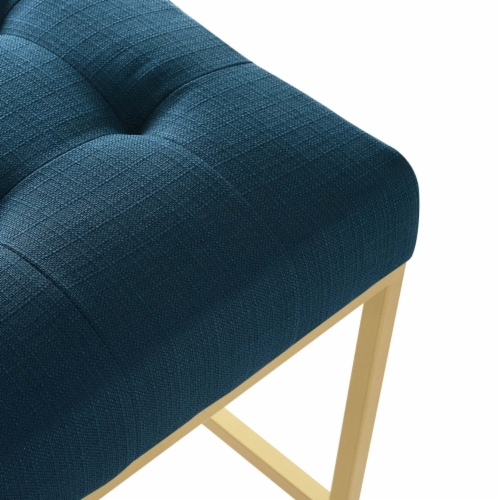 Privy Gold Stainless Steel Upholstered Fabric Bar Stool Gold Azure Perspective: left