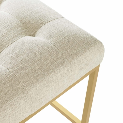 Privy Gold Stainless Steel Upholstered Fabric Bar Stool Gold Beige Perspective: left