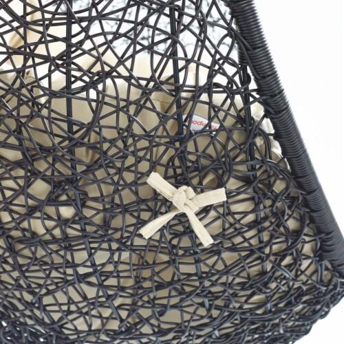 Encase Sunbrella Swing Outdoor Patio Lounge Chair Black Beige Perspective: left