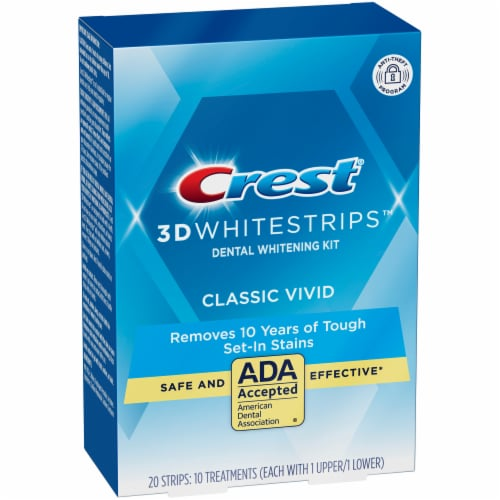 Crest 3D Whitestrips Classic Vivid Teeth Whitening Kit 10 Treatments Perspective: left