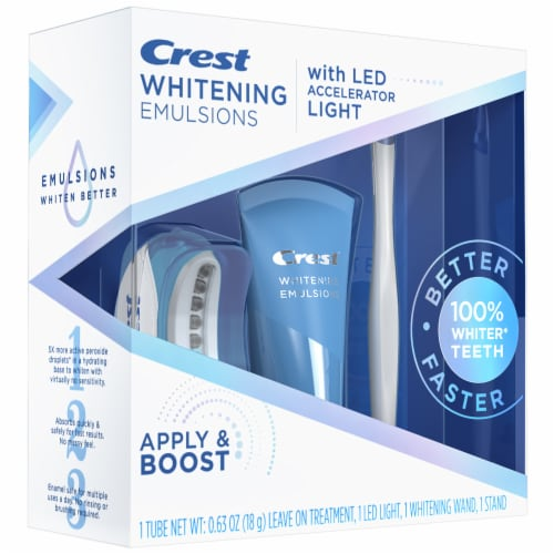 Crest Whitening Emulsions with LED Accelerator Light Whitening Kit Perspective: left