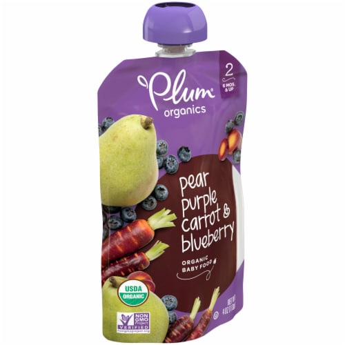 Plum® Organics Stage 2 Pear Purple Carrot & Blueberry Baby Food Pouch Perspective: left