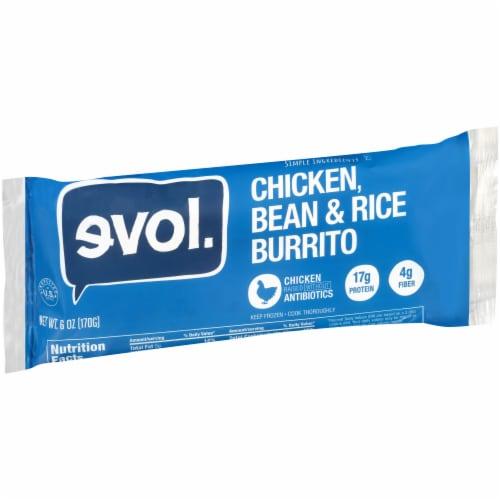 Evol Chicken Bean & Rice Burrito Perspective: left