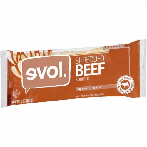 Evol Shredded Beef Burrito Perspective: left