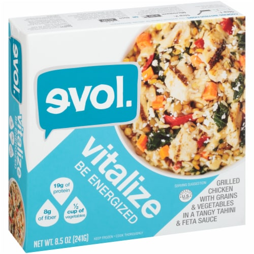 Evol Vitalize Chicken with Grains and Vegetables Bowl Perspective: left