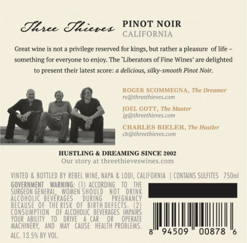 Three Thieves Pinot Noir Perspective: left