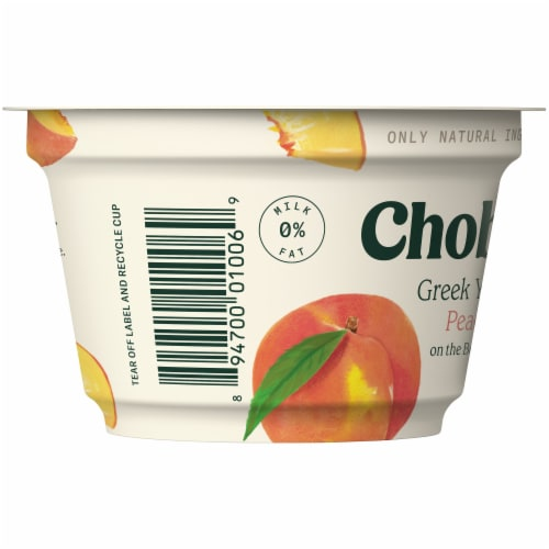 Chobani Peach on the Bottom Non-Fat Greek Yogurt Perspective: left