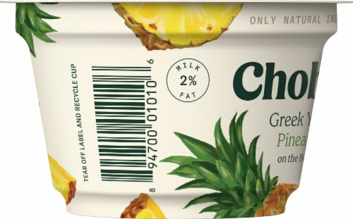 Chobani Pineapple on the Bottom Low-Fat Greek Yogurt Perspective: left