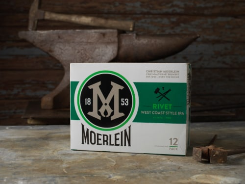 Christian Moerlein Rivet West Coast Style IPA Beer Perspective: left
