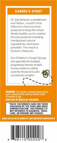Zarbee's All Natural Cherry Children's Cough Syrup Perspective: left