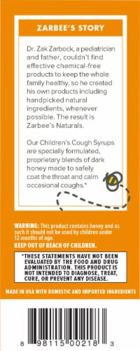 Zarbee's All Natural Children's Grape Cough Syrup with Dark Honey Perspective: left