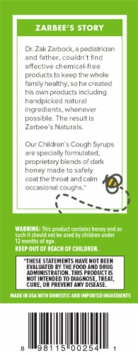 Zarbee's Naturals Dark Honey & Ivy Leaf Grape Flavored Cough Syrup Perspective: left