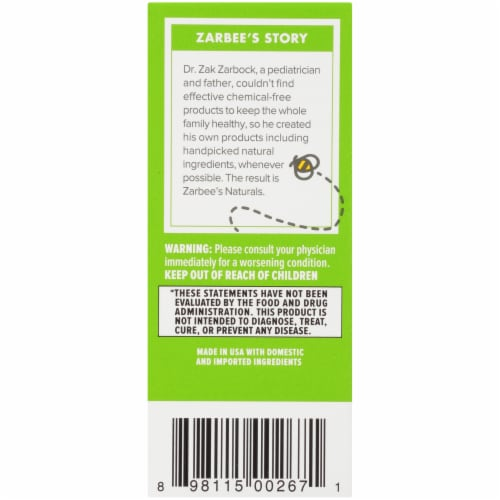 Zarbee's Naturals Baby Grape Flavor Cough Syrup + Mucus Relief Perspective: left