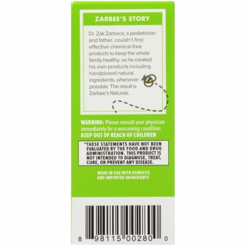 Zarbee's Naturals Baby Agave & Ivy Leaf Grape Cough Syrup + Mucus Dietary Supplement Perspective: left