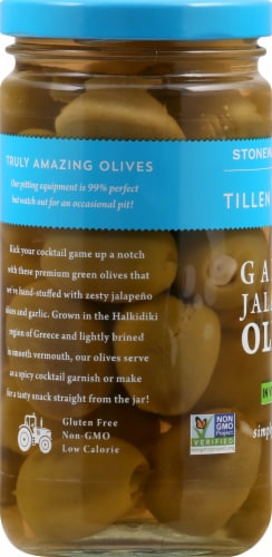 Tillen Farms Garlic Jalapeno Olives in Vermouth Perspective: left
