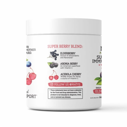 Maty's All Natural Super Berry Immune Support Elderberry & Zinc Dietary Supplement Perspective: left