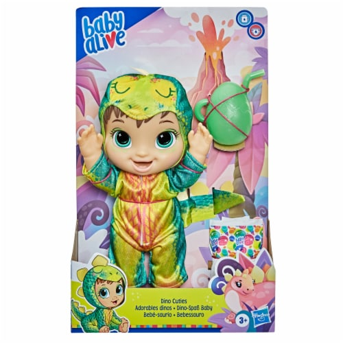 Hasbro Baby Alive Dino Cuties Doll -Brown Hair Perspective: left
