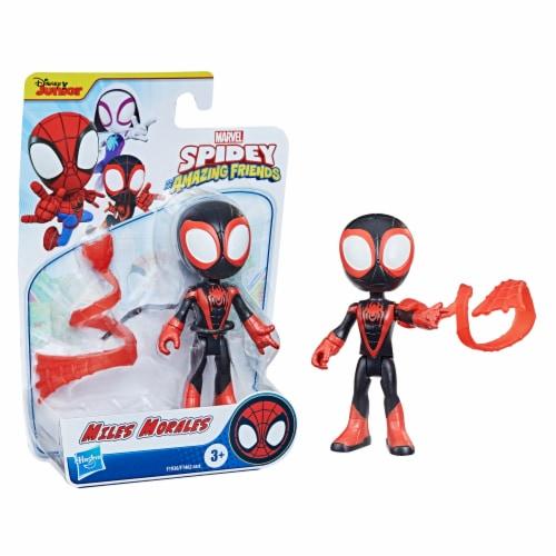 Hasbro Disney Junior Marvel Spidey and His Amazing Friends Miles Morales Hero Figure Perspective: left