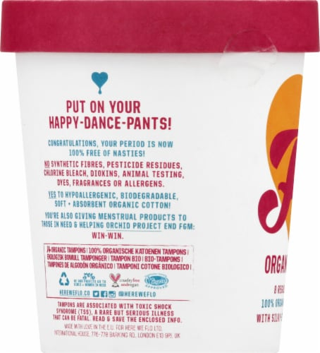 FLO Eco-Applicator Organic Tampons Perspective: left