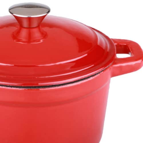 BergHOFF Neo Cast Iron Round Dutch Oven - Red Perspective: left