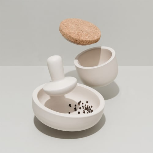 BergHOFF Leo Stoneware Covered Mortar and Pestle Perspective: left