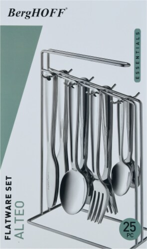BergHOFF Essentials Alteo Stainless Steel Flatware Set with Storage Rack Perspective: left