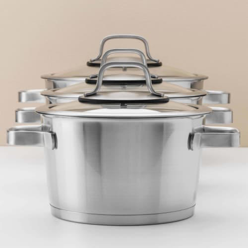 BergHOFF Essentials Manhattan Stainless Steel Covered Casserole Pot Perspective: left