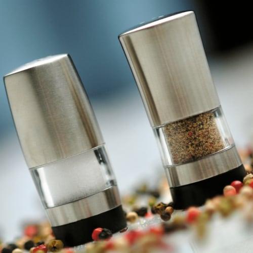 BergHOFF Geminis Stainless Steel Mini Salt & Pepper Dispensers Perspective: left