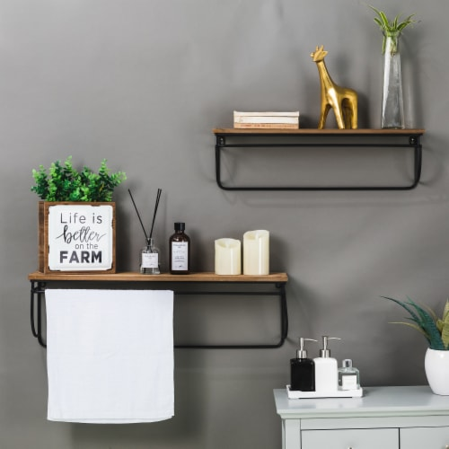 Glitzhome Farmhouse Metal/Wooden Decorative Wall Shelves Perspective: left