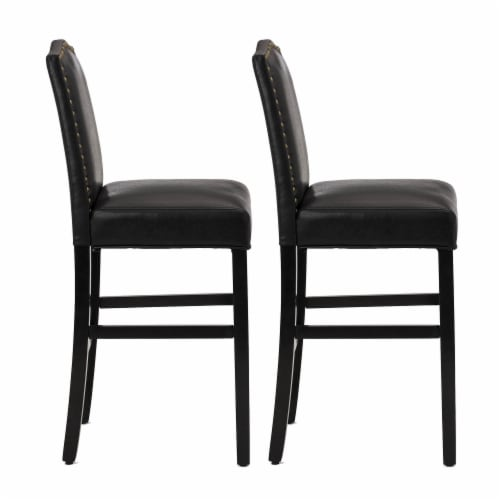 Glitzhome Studded Leatherette Barchair - Black Perspective: left