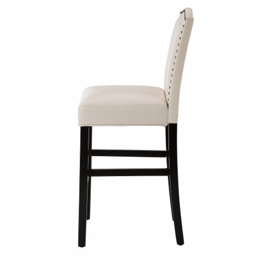 Glitzhome Studded Leatherette Barchair - Cream Perspective: left