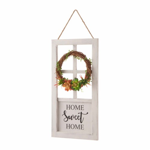 Glitzhome Wreath and Succulent Wooden Door Frame Wall Decoration Perspective: left