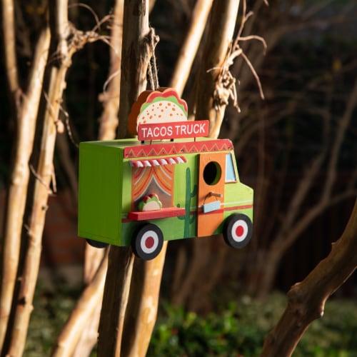 Glitzhome Wooden Mexico Taco Truck Decorative Birdhouse Perspective: left