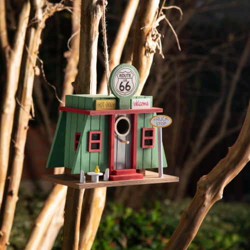 Glitzhome Wooden Truck-Stop Decorative Birdhouse Perspective: left