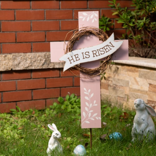 Glitzhome Easter He Is Risen Cross - Pink/White Perspective: left